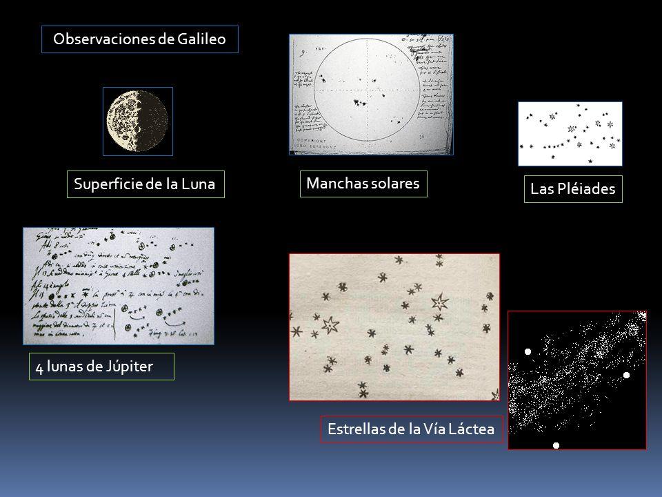Observaciones de Galileo Las Pléiades 4 lunas de Júpiter Manchas solares Superficie de la Luna Estrellas de la Vía Láctea