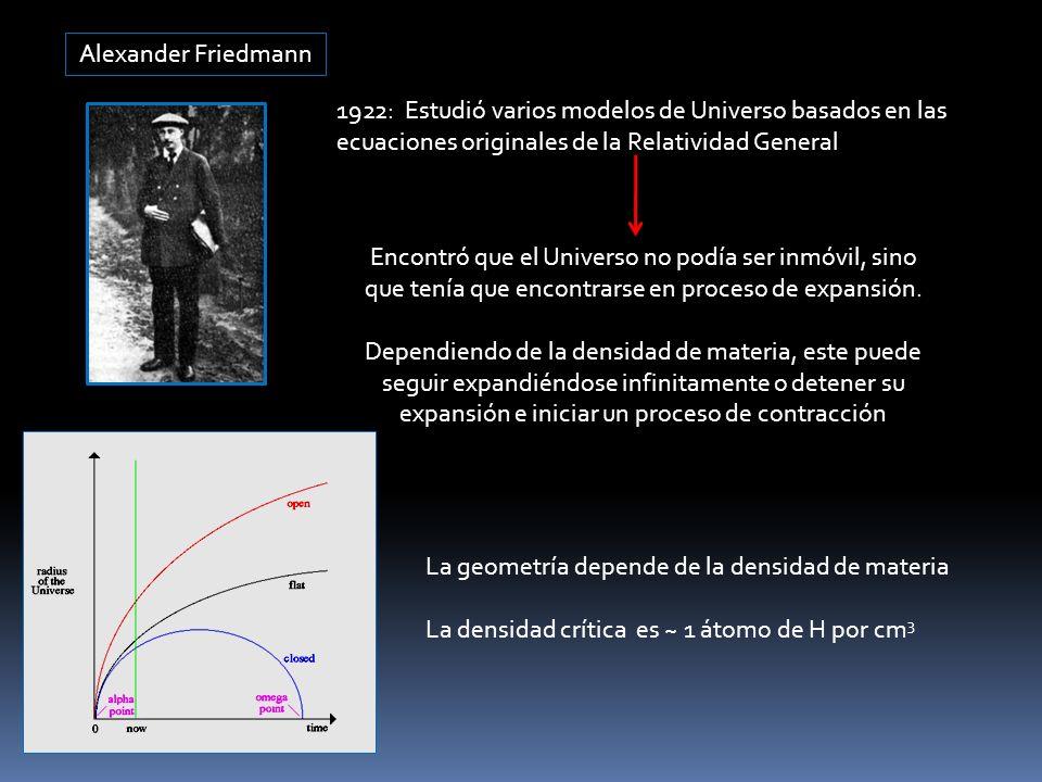 Alexander Friedmann 1922: Estudió varios modelos de Universo basados en las ecuaciones originales de la Relatividad General Encontró que el Universo n