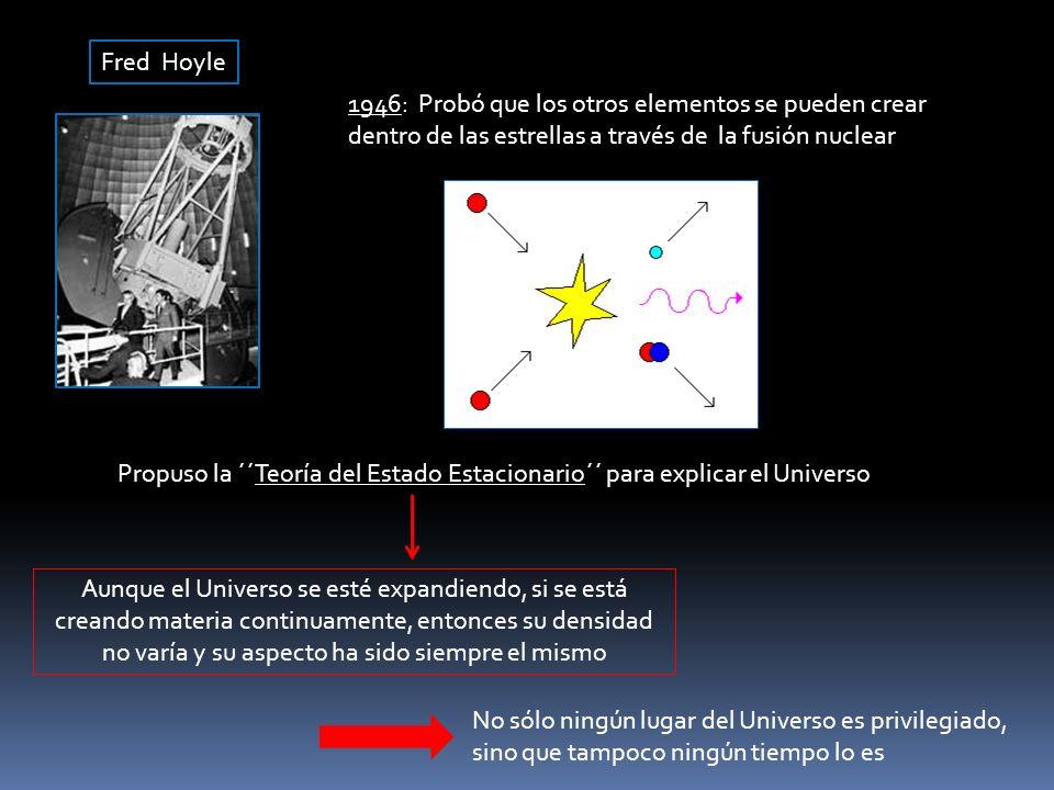Fred Hoyle 1946: Probó que los otros elementos se pueden crear dentro de las estrellas a través de la fusión nuclear Propuso la ´´Teoría del Estado Es