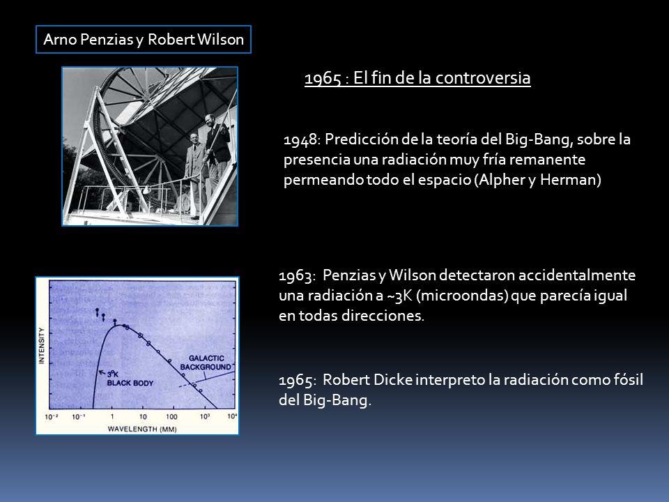 Arno Penzias y Robert Wilson 1965 : El fin de la controversia 1948: Predicción de la teoría del Big-Bang, sobre la presencia una radiación muy fría re