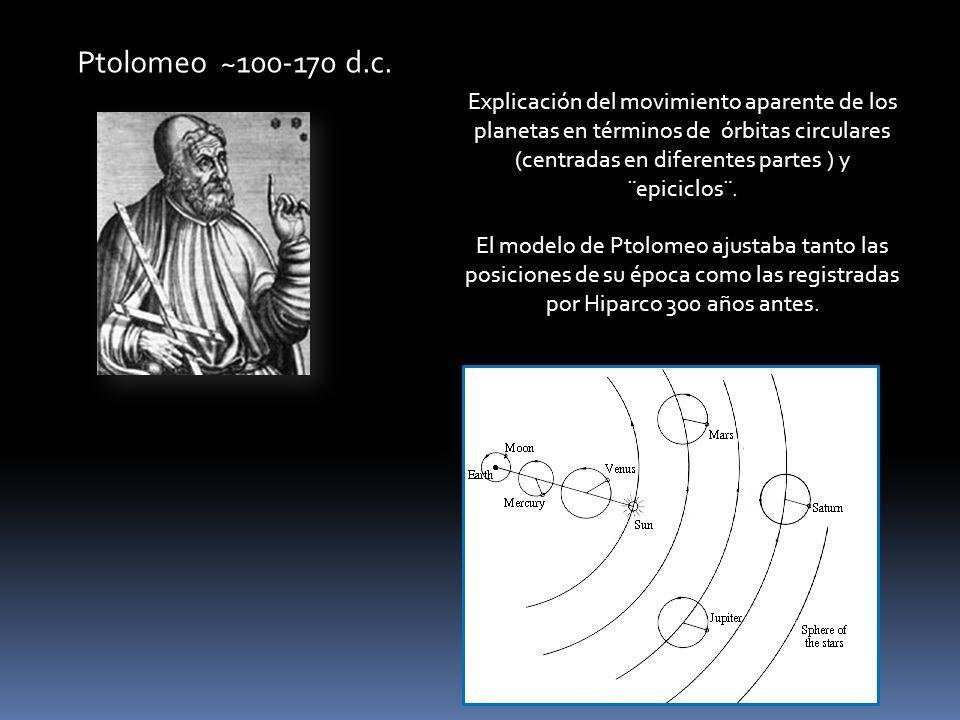 Ptolomeo ~100-170 d.c. Explicación del movimiento aparente de los planetas en términos de órbitas circulares (centradas en diferentes partes ) y ¨epic