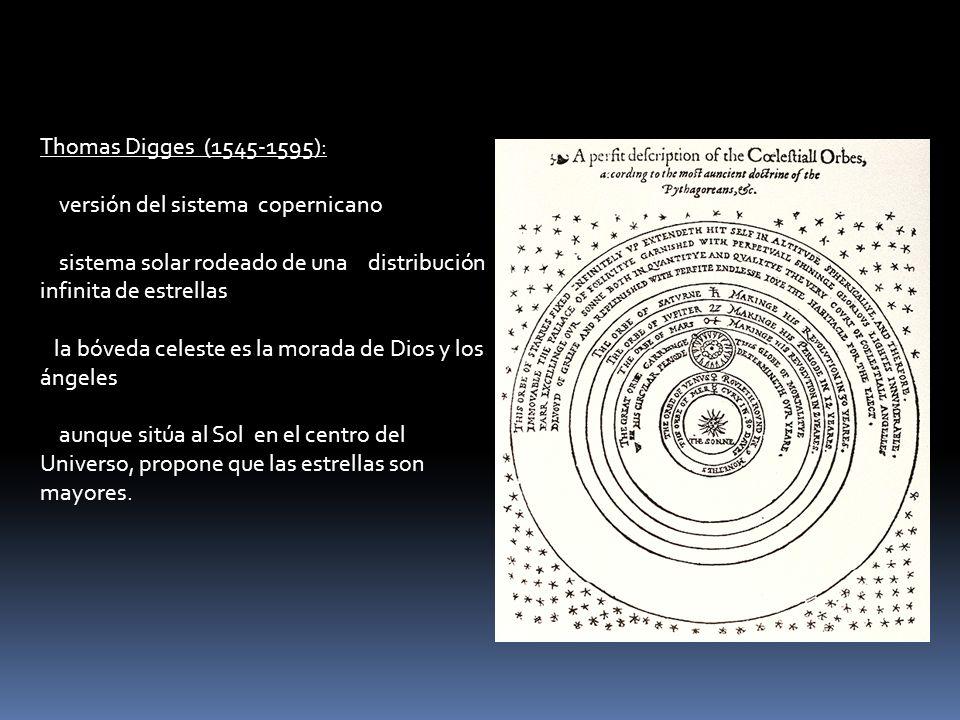 Thomas Digges (1545-1595): versión del sistema copernicano sistema solar rodeado de una distribución infinita de estrellas la bóveda celeste es la mor