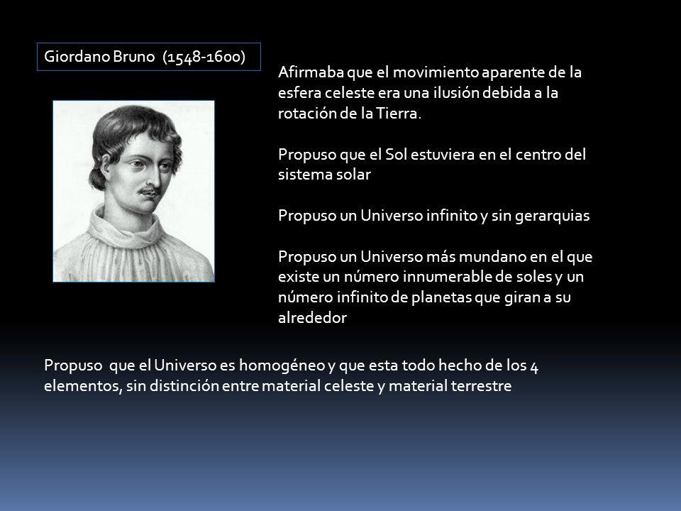 Giordano Bruno (1548-1600) Afirmaba que el movimiento aparente de la esfera celeste era una ilusión debida a la rotación de la Tierra. Propuso que el