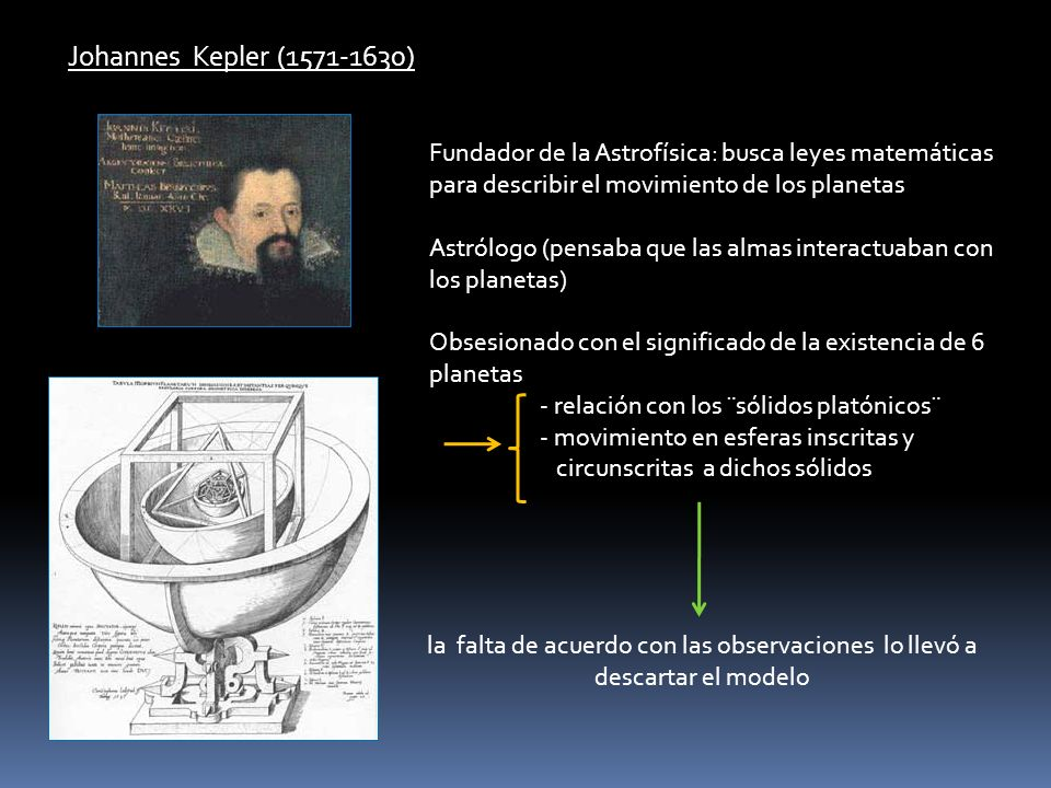 Johannes Kepler (1571-1630) Fundador de la Astrofísica: busca leyes matemáticas para describir el movimiento de los planetas Astrólogo (pensaba que la