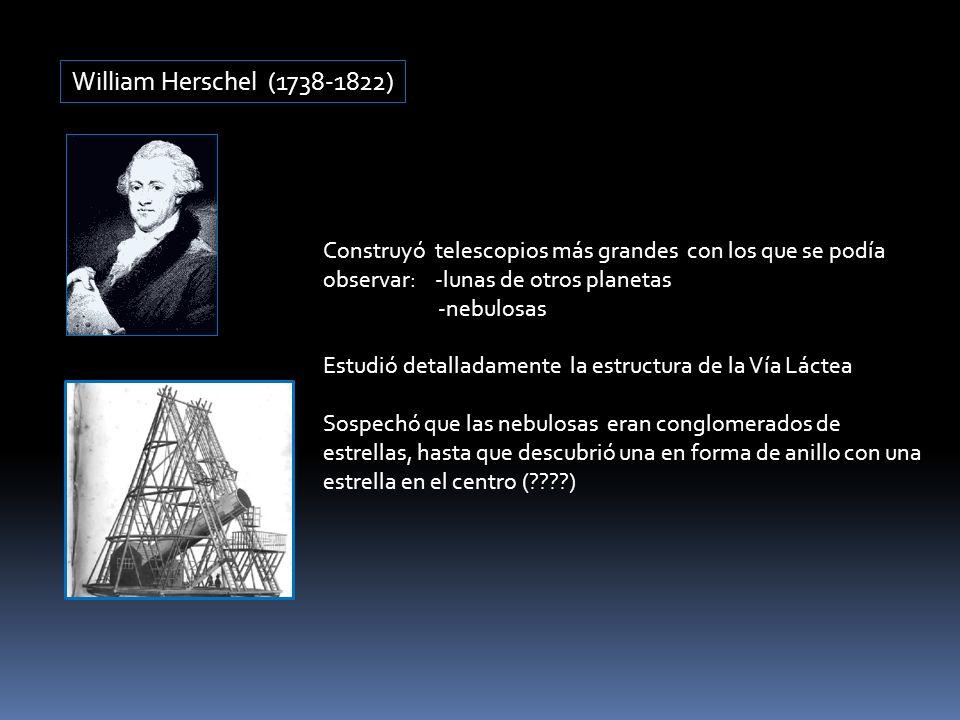 William Herschel (1738-1822) Construyó telescopios más grandes con los que se podía observar: -lunas de otros planetas -nebulosas Estudió detalladamen