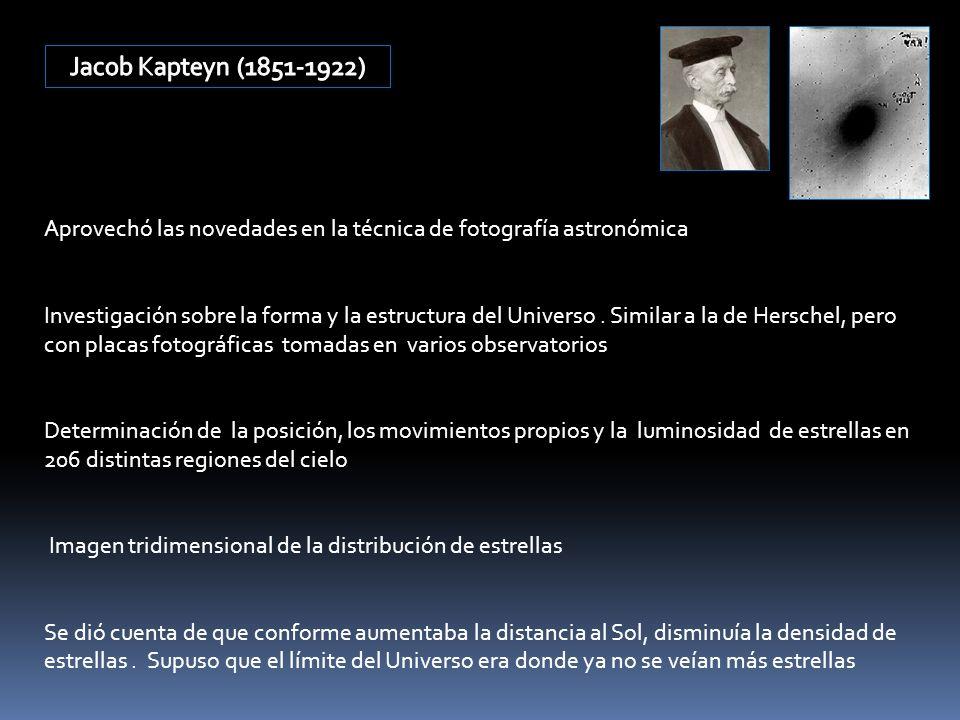 Aprovechó las novedades en la técnica de fotografía astronómica Investigación sobre la forma y la estructura del Universo. Similar a la de Herschel, p