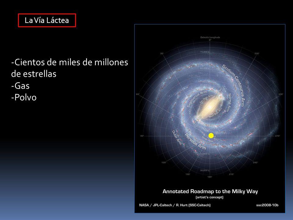 Diámetro : ~100,000 años luz Espesor: ~1,000 años luz : Estrellas ~ 12,000 años luz : Gas Número de estrellas: 200-400 mil millones de estrellas Distancia del Sol al Centro Galáctico : 26,000 años luz Periodo de rotación del Sol : 250 millones de años Velocidad de rotación del Sol : ~220 km/s Algunos Datos