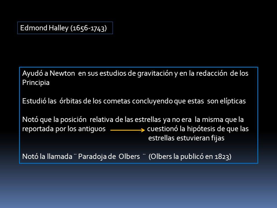 Edmond Halley (1656-1743) Ayudó a Newton en sus estudios de gravitación y en la redacción de los Principia Estudió las órbitas de los cometas concluye