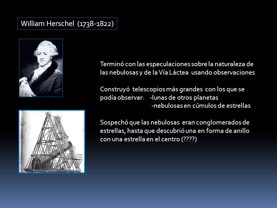 William Herschel (1738-1822) Terminó con las especulaciones sobre la naturaleza de las nebulosas y de la Vía Láctea usando observaciones Construyó tel
