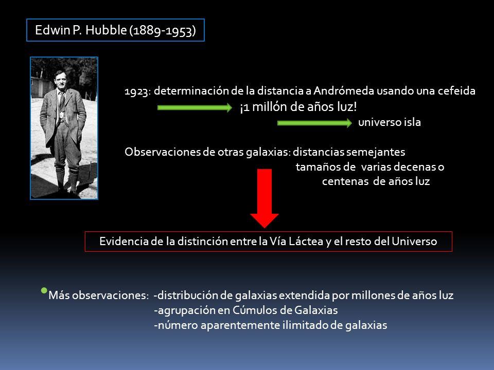 Edwin P. Hubble (1889-1953) 1923: determinación de la distancia a Andrómeda usando una cefeida ¡1 millón de años luz! universo isla Observaciones de o