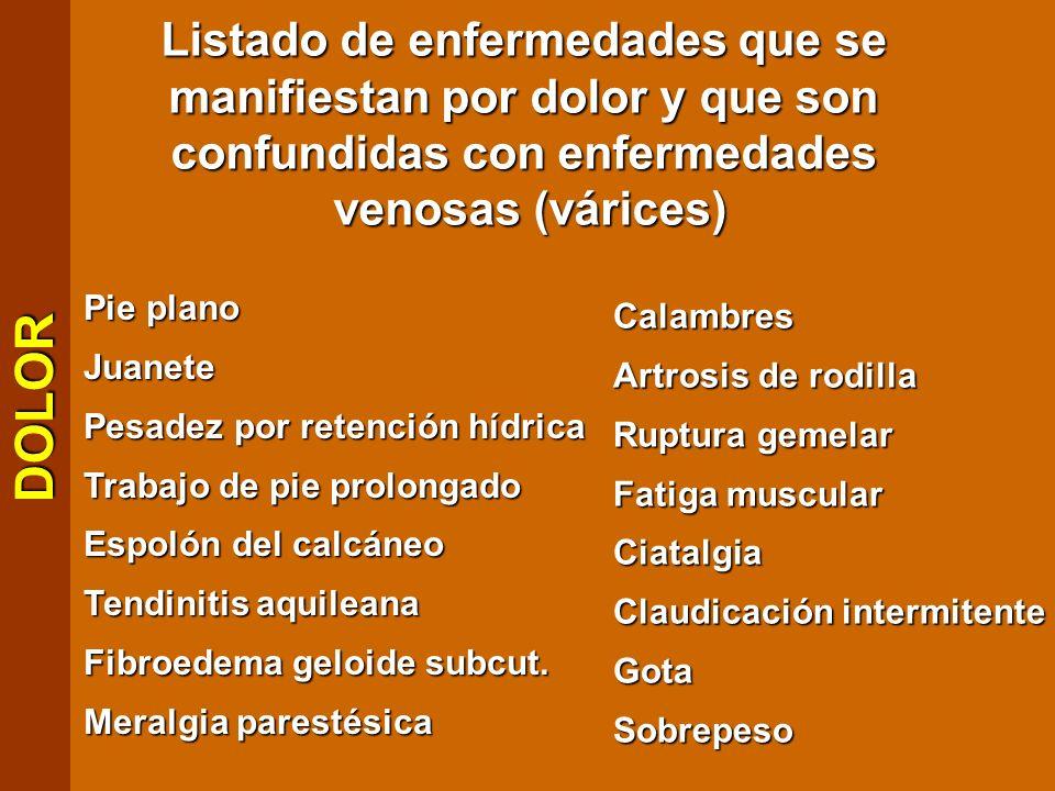 Listado de enfermedades que se manifiestan por dolor y que son confundidas con enfermedades venosas (várices) Pie plano Juanete Pesadez por retención