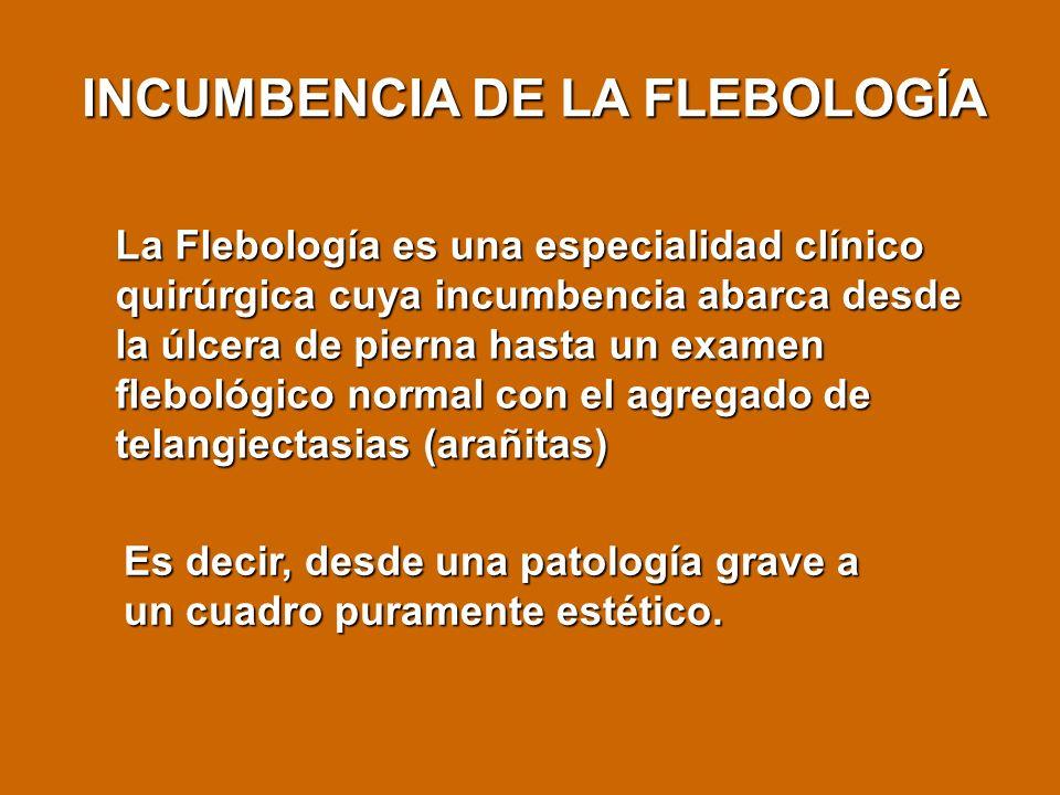 La Flebología es una especialidad clínico quirúrgica cuya incumbencia abarca desde la úlcera de pierna hasta un examen flebológico normal con el agreg