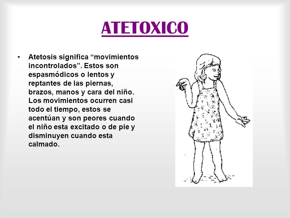 ATETOXICO Atetosis significa movimientos incontrolados.