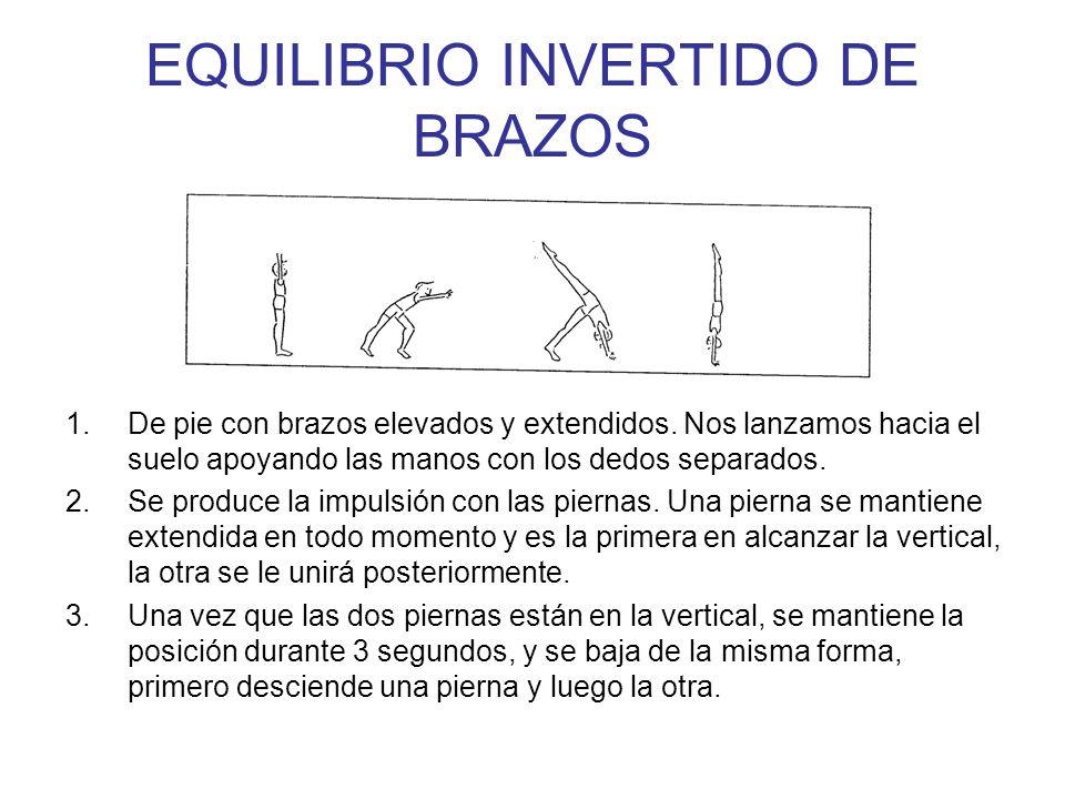 EQUILIBRIO INVERTIDO DE BRAZOS 1.De pie con brazos elevados y extendidos. Nos lanzamos hacia el suelo apoyando las manos con los dedos separados. 2.Se