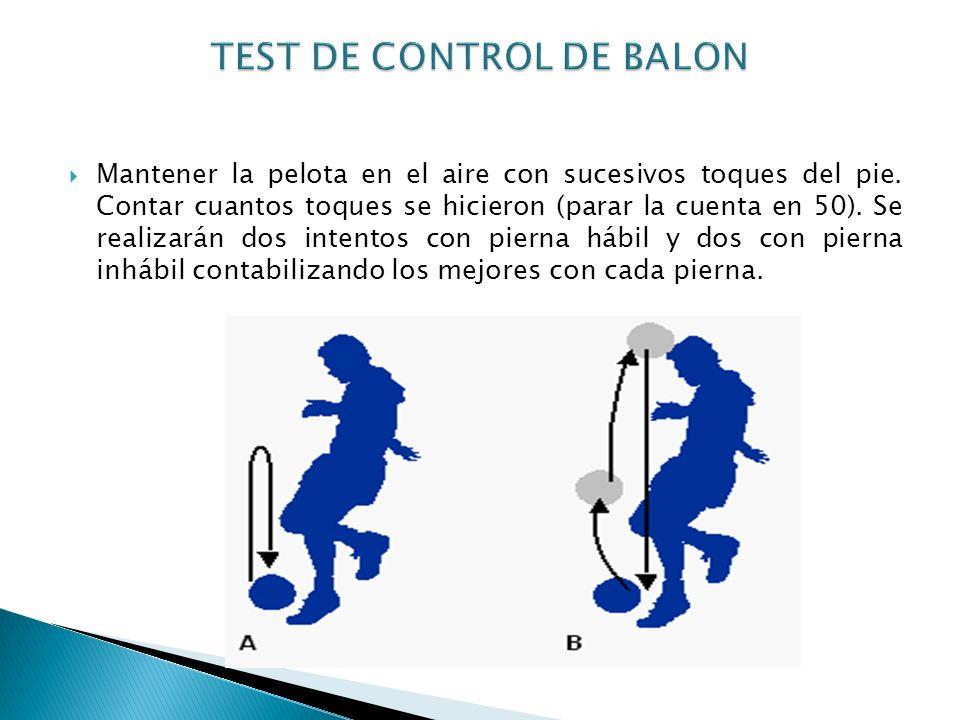 Mantener la pelota en el aire con sucesivos toques del pie. Contar cuantos toques se hicieron (parar la cuenta en 50). Se realizarán dos intentos con