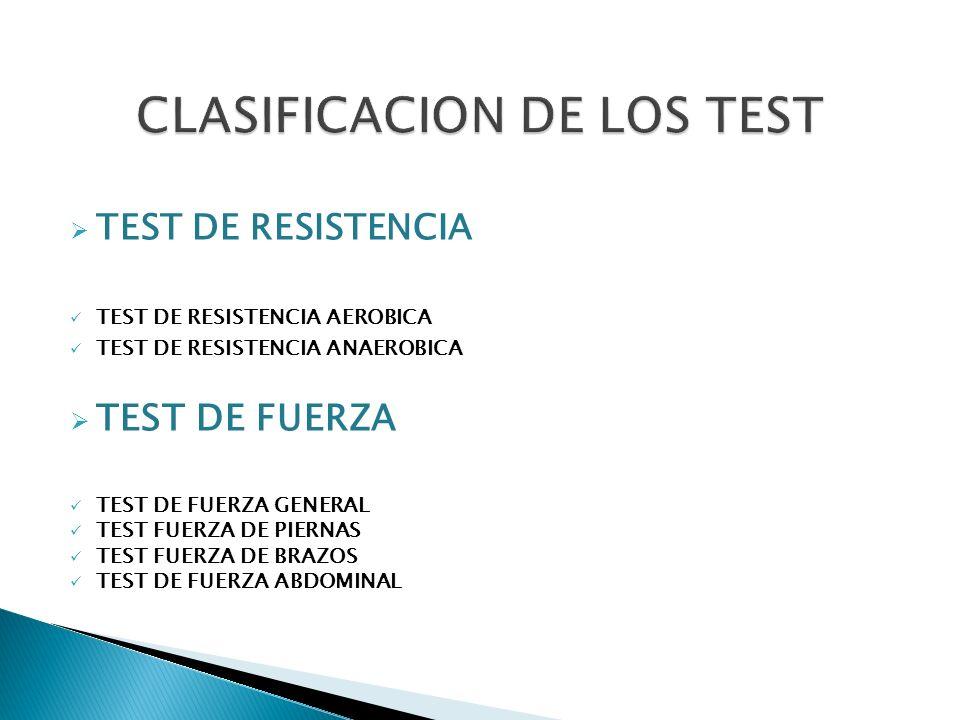 TEST DE RESISTENCIA TEST DE RESISTENCIA AEROBICA TEST DE RESISTENCIA ANAEROBICA TEST DE FUERZA TEST DE FUERZA GENERAL TEST FUERZA DE PIERNAS TEST FUER