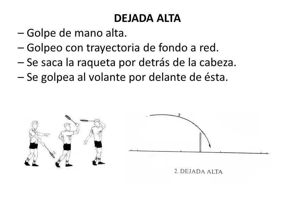 DEJADA ALTA – Golpe de mano alta. – Golpeo con trayectoria de fondo a red. – Se saca la raqueta por detrás de la cabeza. – Se golpea al volante por de