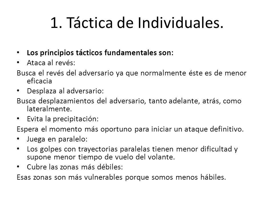 1. Táctica de Individuales. Los principios tácticos fundamentales son: Ataca al revés: Busca el revés del adversario ya que normalmente éste es de men