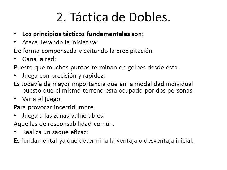 2. Táctica de Dobles. Los principios tácticos fundamentales son: Ataca llevando la iniciativa: De forma compensada y evitando la precipitación. Gana l