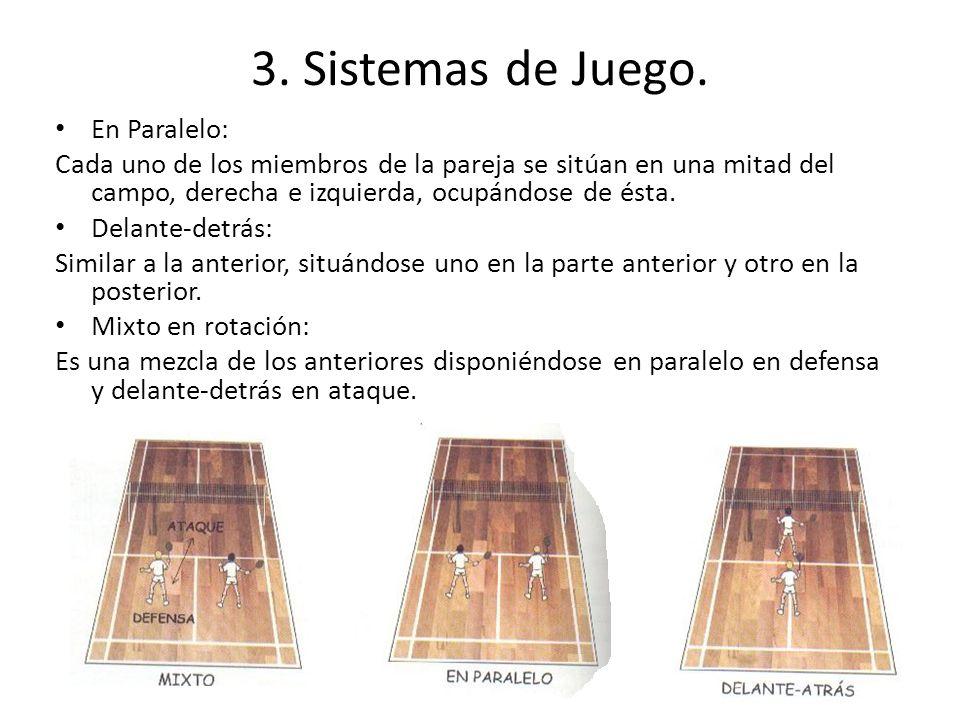 3. Sistemas de Juego. En Paralelo: Cada uno de los miembros de la pareja se sitúan en una mitad del campo, derecha e izquierda, ocupándose de ésta. De