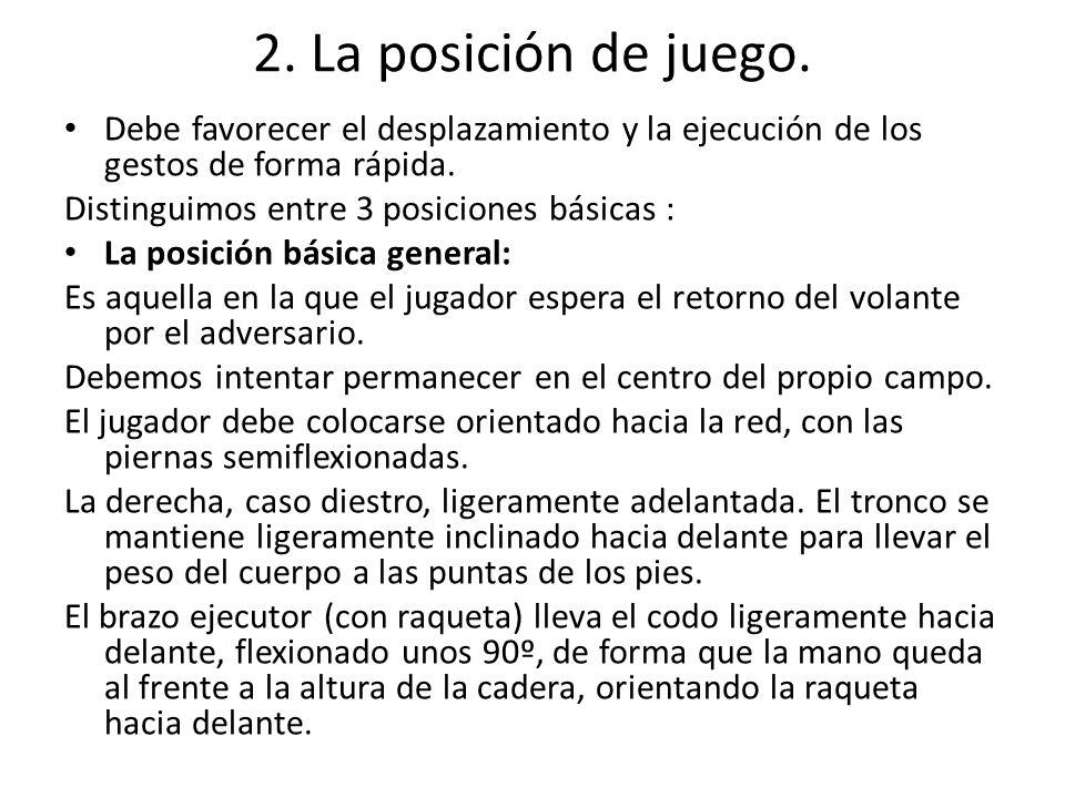 2. La posición de juego. Debe favorecer el desplazamiento y la ejecución de los gestos de forma rápida. Distinguimos entre 3 posiciones básicas : La p