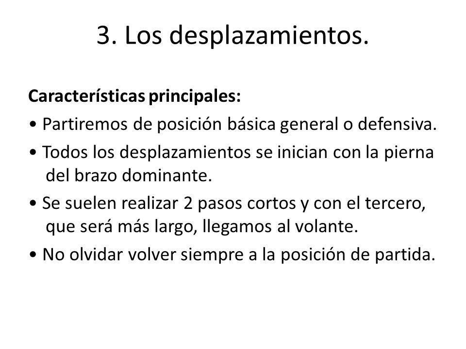 3. Los desplazamientos. Características principales: Partiremos de posición básica general o defensiva. Todos los desplazamientos se inician con la pi