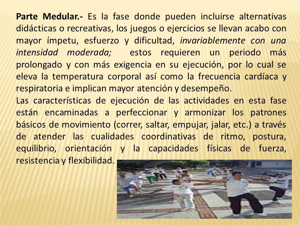 Parte Medular.- Es la fase donde pueden incluirse alternativas didácticas o recreativas, los juegos o ejercicios se llevan acabo con mayor ímpetu, esf