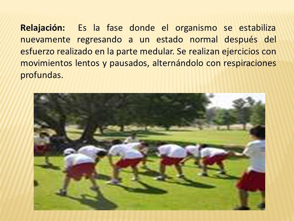 Relajación: Es la fase donde el organismo se estabiliza nuevamente regresando a un estado normal después del esfuerzo realizado en la parte medular. S