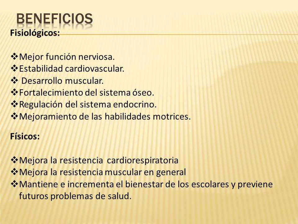 Físicos: Mejora la resistencia cardiorespiratoria Mejora la resistencia muscular en general Mantiene e incrementa el bienestar de los escolares y prev