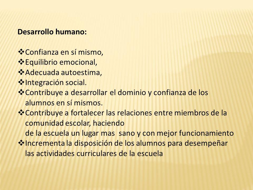 Desarrollo humano: Confianza en sí mismo, Equilibrio emocional, Adecuada autoestima, Integración social. Contribuye a desarrollar el dominio y confian