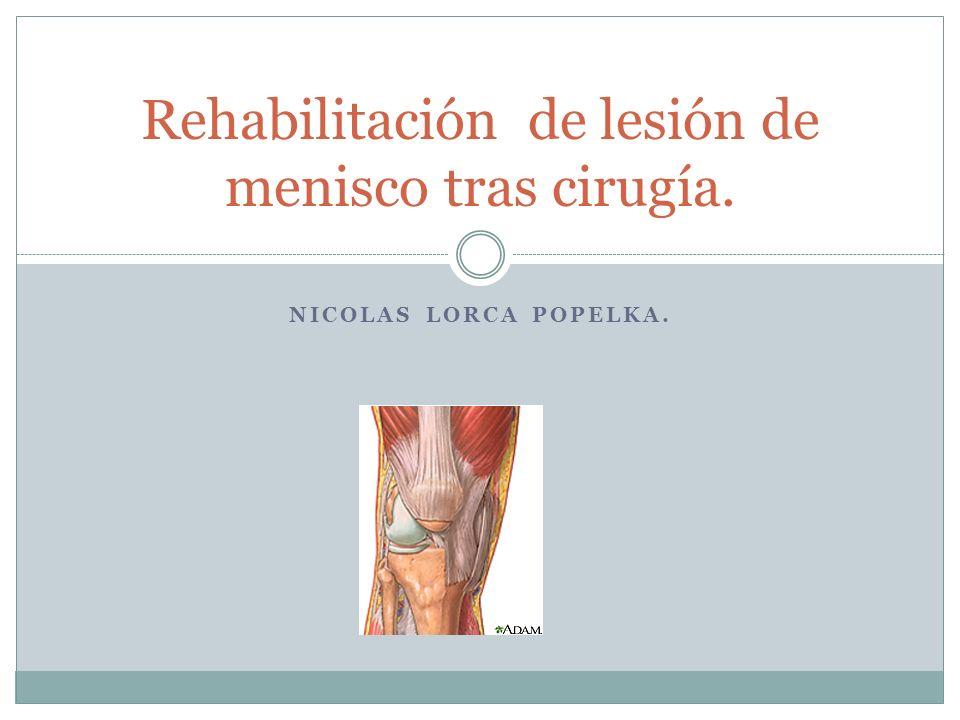 NICOLAS LORCA POPELKA. Rehabilitación de lesión de menisco tras cirugía.