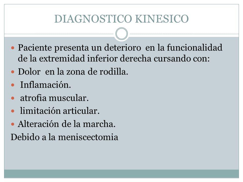 DIAGNOSTICO KINESICO Paciente presenta un deterioro en la funcionalidad de la extremidad inferior derecha cursando con: Dolor en la zona de rodilla. I