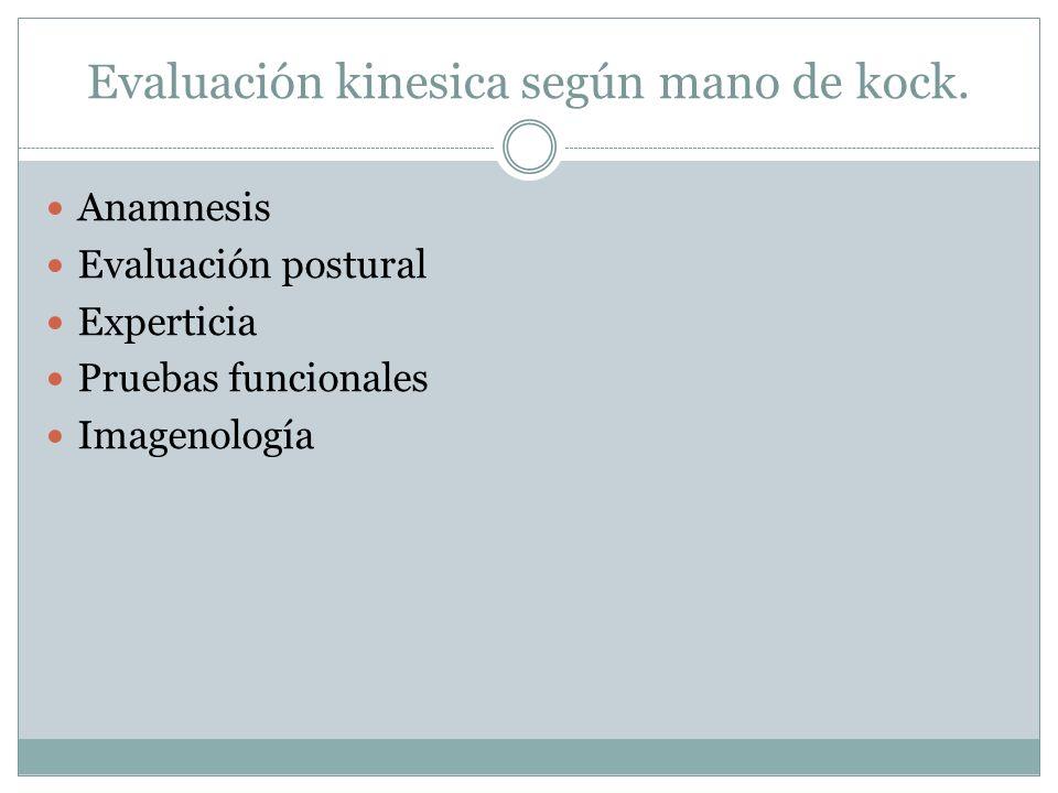 Evaluación kinesica según mano de kock. Anamnesis Evaluación postural Experticia Pruebas funcionales Imagenología
