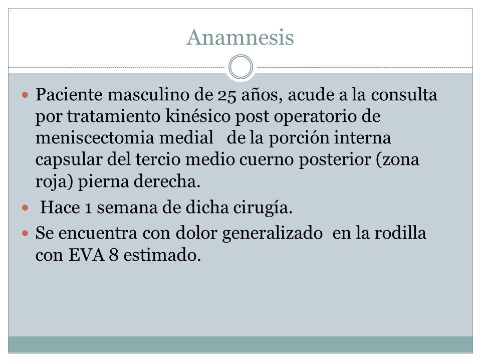 Paciente masculino de 25 años, acude a la consulta por tratamiento kinésico post operatorio de meniscectomia medial de la porción interna capsular del