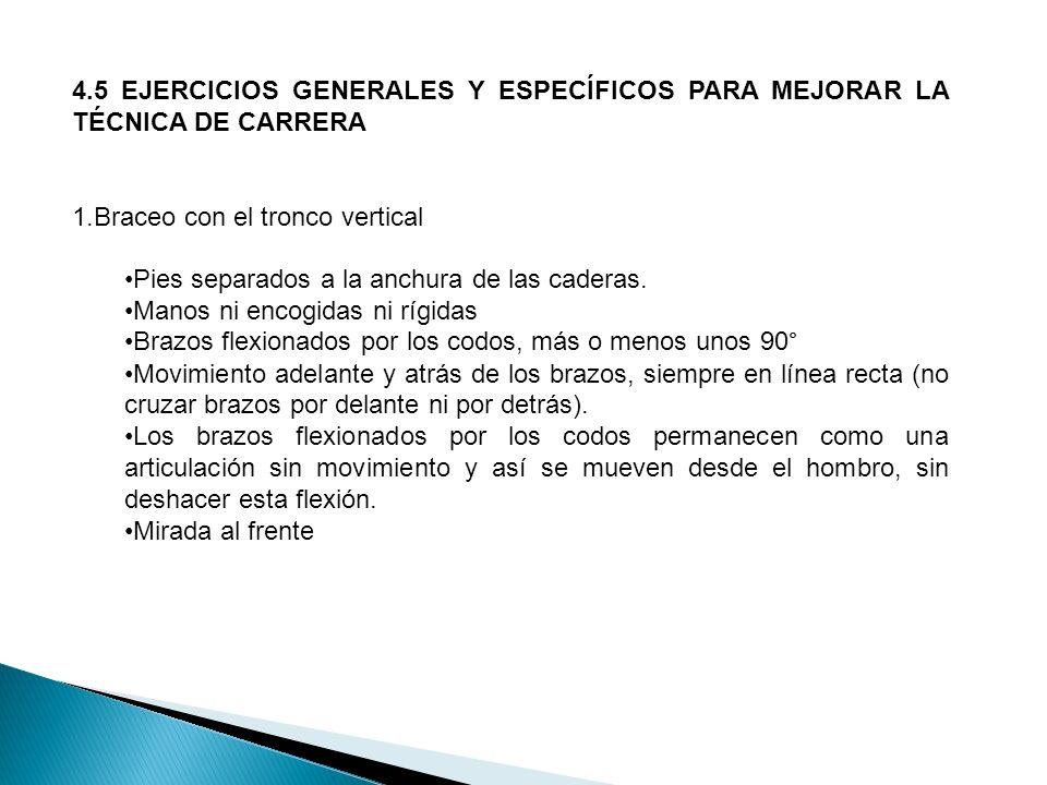 4.5 EJERCICIOS GENERALES Y ESPECÍFICOS PARA MEJORAR LA TÉCNICA DE CARRERA 1.Braceo con el tronco vertical Pies separados a la anchura de las caderas.