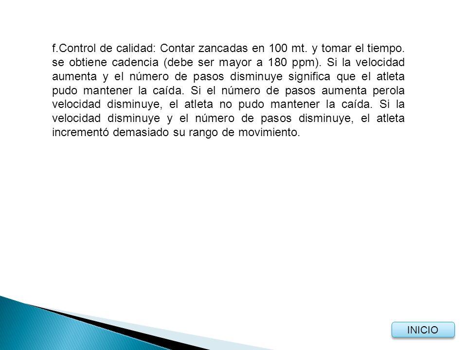 f.Control de calidad: Contar zancadas en 100 mt.y tomar el tiempo.