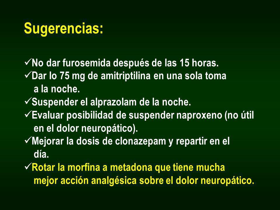 Sugerencias: No dar furosemida después de las 15 horas. Dar lo 75 mg de amitriptilina en una sola toma a la noche. Suspender el alprazolam de la noche