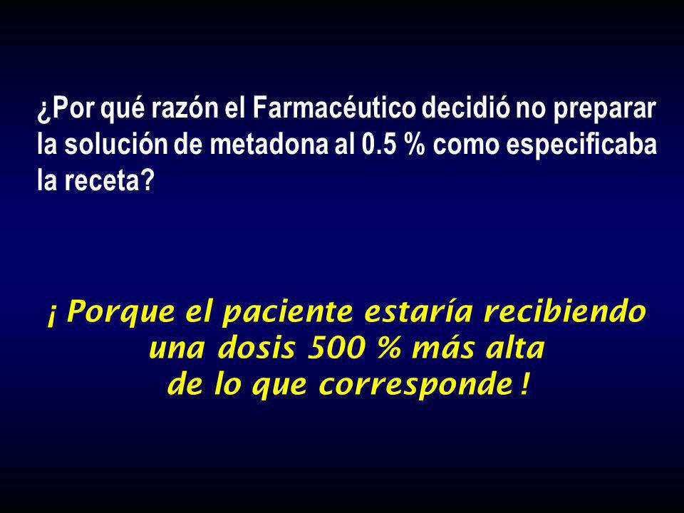¿Por qué razón el Farmacéutico decidió no preparar la solución de metadona al 0.5 % como especificaba la receta? ¡ Porque el paciente estaría recibien