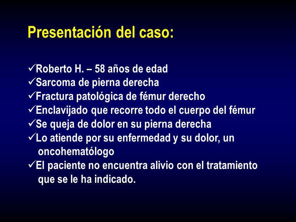 Presentación del caso: Roberto H. – 58 años de edad Sarcoma de pierna derecha Fractura patológica de fémur derecho Enclavijado que recorre todo el cue