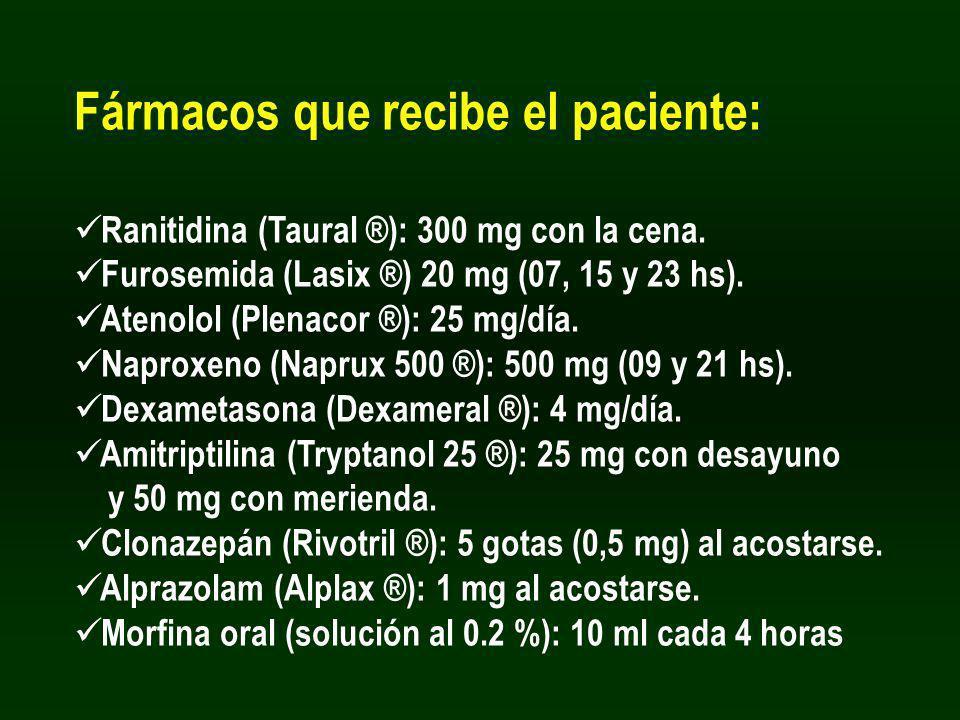 Fármacos que recibe el paciente: Ranitidina (Taural ®): 300 mg con la cena. Furosemida (Lasix ®) 20 mg (07, 15 y 23 hs). Atenolol (Plenacor ®): 25 mg/
