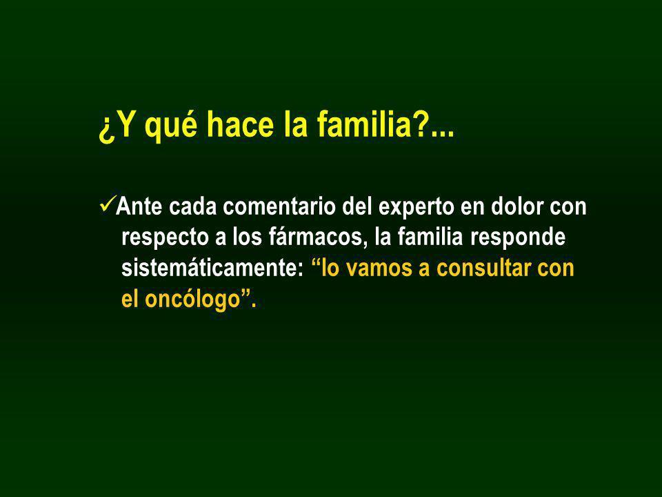 ¿Y qué hace la familia?... Ante cada comentario del experto en dolor con respecto a los fármacos, la familia responde sistemáticamente: lo vamos a con