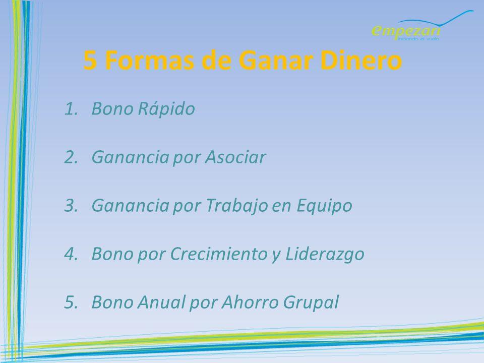 5 Formas de Ganar Dinero 1.Bono Rápido 2.Ganancia por Asociar 3.Ganancia por Trabajo en Equipo 4.Bono por Crecimiento y Liderazgo 5.Bono Anual por Aho