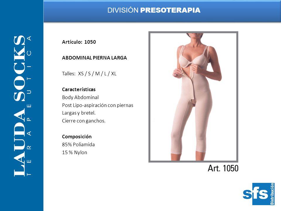 Artículo: 1050 ABDOMINAL PIERNA LARGA Talles: XS / S / M / L / XL Características Body Abdominal Post Lipo-aspiración con piernas Largas y bretel. Cie