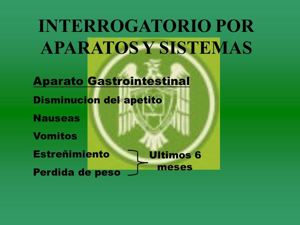 INTERROGATORIO POR APARATOS Y SISTEMAS Aparato Gastrointestinal Disminucion del apetito Nauseas Vomitos Estreñimiento Perdida de peso Ultimos 6 meses