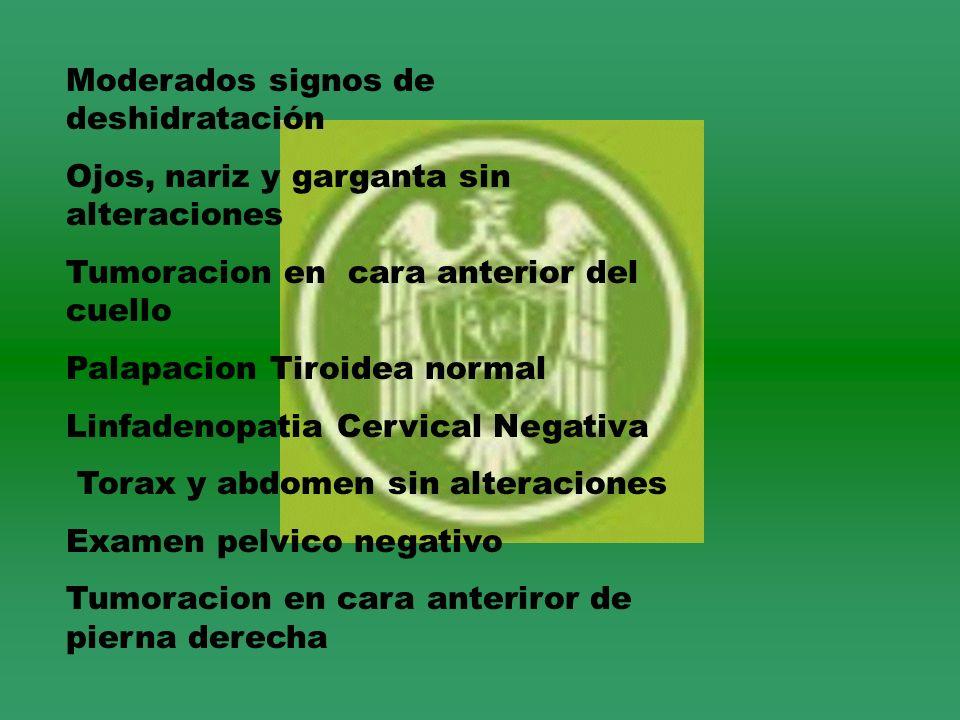 Moderados signos de deshidratación Ojos, nariz y garganta sin alteraciones Tumoracion en cara anterior del cuello Palapacion Tiroidea normal Linfadeno