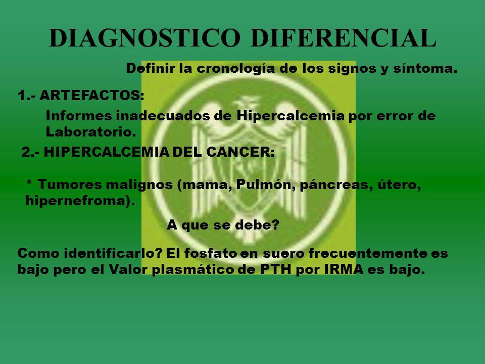 DIAGNOSTICO DIFERENCIAL Definir la cronología de los signos y síntoma. 1.- ARTEFACTOS: Informes inadecuados de Hipercalcemia por error de Laboratorio.