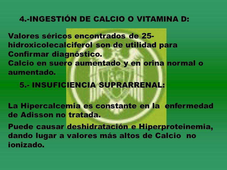 4.-INGESTIÓN DE CALCIO O VITAMINA D: Valores séricos encontrados de 25- hidroxicolecalciferol son de utilidad para Confirmar diagnóstico. Calcio en su