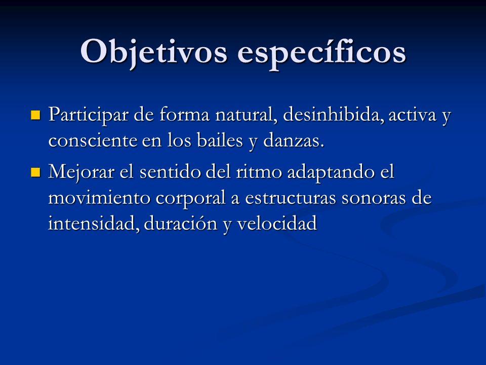 Objetivos específicos Participar de forma natural, desinhibida, activa y consciente en los bailes y danzas. Participar de forma natural, desinhibida,