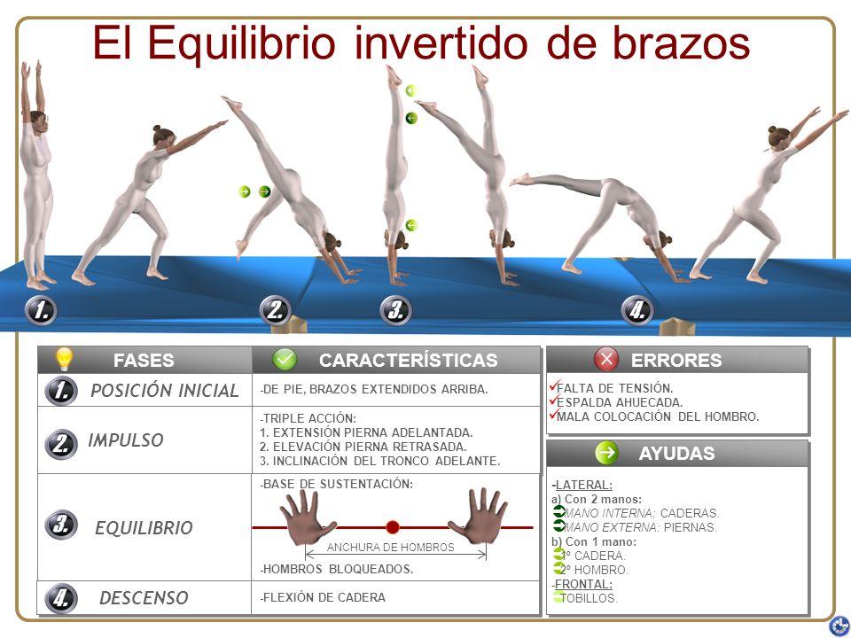El Equilibrio invertido de brazos FASES POSICIÓN INICIAL IMPULSO EQUILIBRIO DESCENSO CARACTERÍSTICAS -DE PIE, BRAZOS EXTENDIDOS ARRIBA. -TRIPLE ACCIÓN