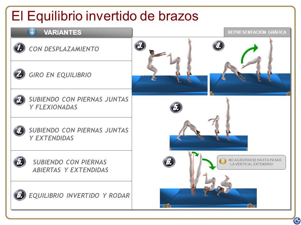 REPRESENTACIÓN GRÁFICA El Equilibrio invertido de brazos CON DESPLAZAMIENTO GIRO EN EQUILIBRIO SUBIENDO CON PIERNAS JUNTAS Y FLEXIONADAS SUBIENDO CON
